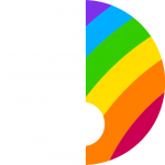 Considered Creative logo. Two halves of a circle. The left hand side is white and the right hand side is multi-coloured like a rainbow.